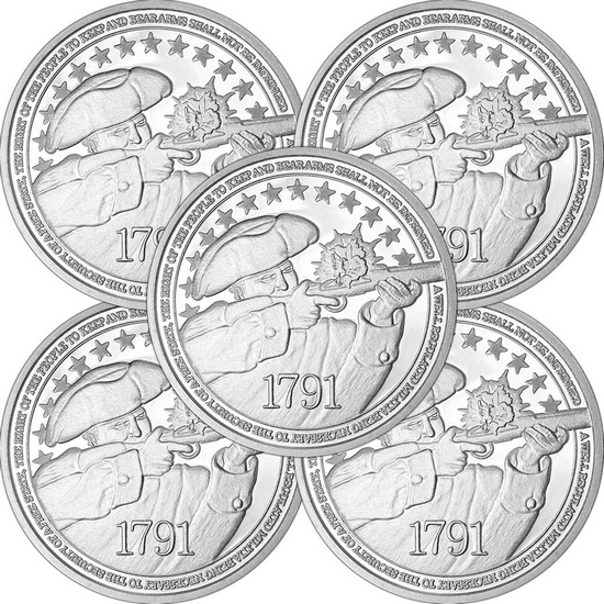 2nd Amendment 1oz .999 Fine Silver Medallion 5pc