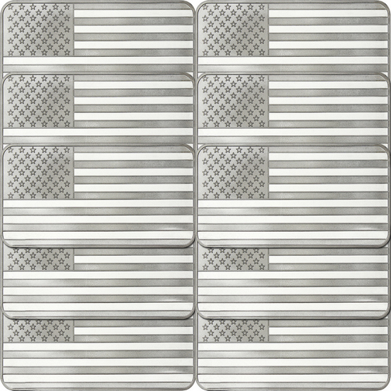 American Flag 10oz .999 Silver Bar 10pc