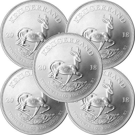2018 South Africa Silver Krugerrand 1oz BU Coin 5pc