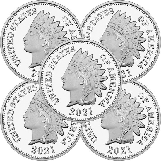 2018 Indian Head Cent Replica 1oz .999 Silver Medallion 5pc