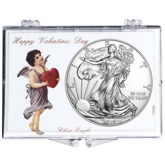 2018 Silver American Eagle Happy Valentine's Day Snaplock