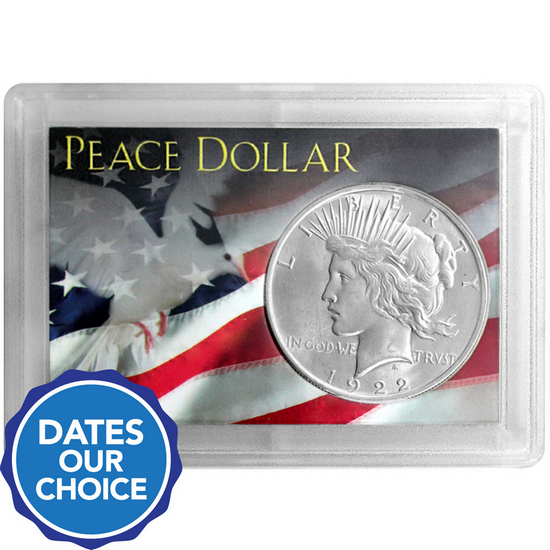 Peace Silver Dollar Our Choice Date in H.E. Harris Snaptite