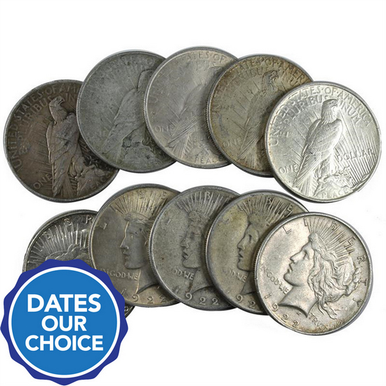 Silver Peace Dollars 10pc Dates Our Choice VG-XF