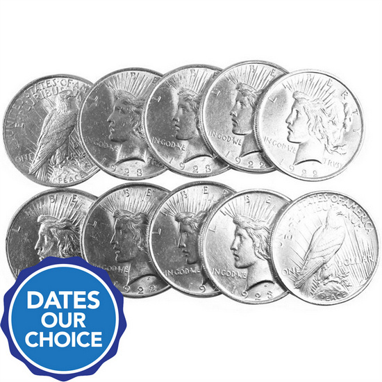 Silver Peace Dollars 10pc Dates Our Choice BU