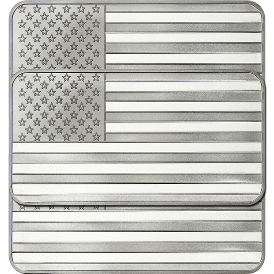 American Flag 10oz .999 Silver Bar 3pc