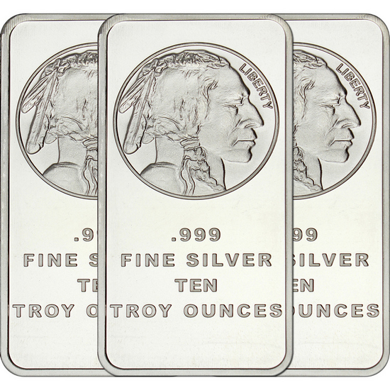 Buffalo Replica 10oz .999 Silver Bar 3pc