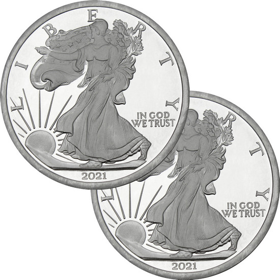 2017 Silver American Eagle Replica 5oz .999 Silver Medallion 2pc