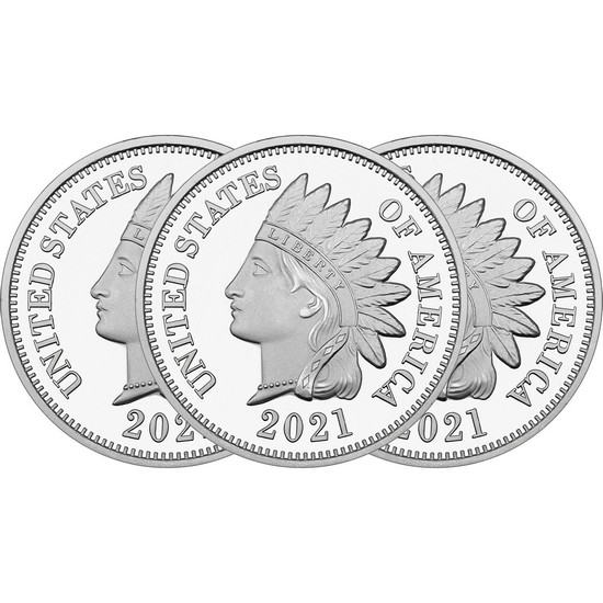2018 Indian Head Cent Replica 1oz .999 Silver Medallion 3pc