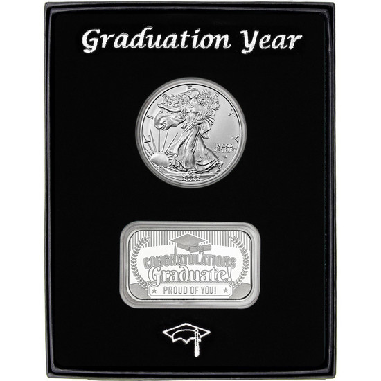 Graduation Year Silver Bar and Silver American Eagle 2pc Box Set