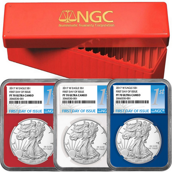 2017 W Silver American Eagle Coin PF70 UC FDI Red, White & Blue Core NGC 1st Label 3oc Set in Red NGC Box