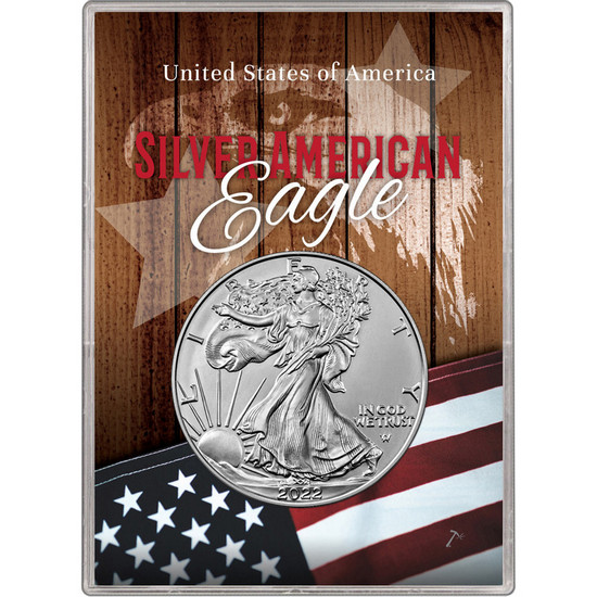 2018 Silver American Eagle BU in Patriotic Flag and Eagle Gift Holder