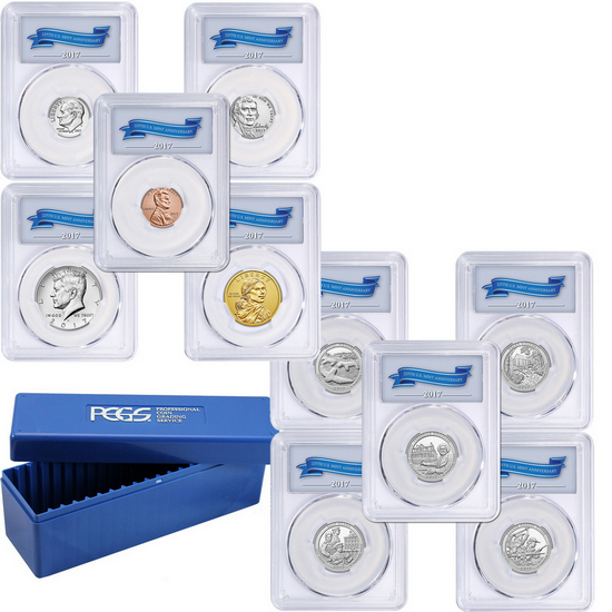 225th Anniversary 2017 S 10pc Enhanced Uncirculated Coin Set SP69 First Day Issue PCGS