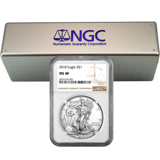 2018 Silver American Eagle MS69 NGC Brown Label 20pc in NGC Storage Box