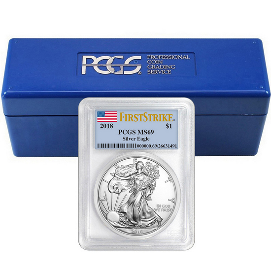 2018 Silver American Eagle MS69FS PCGS Flag Label 20pc with PCGS Storage Box