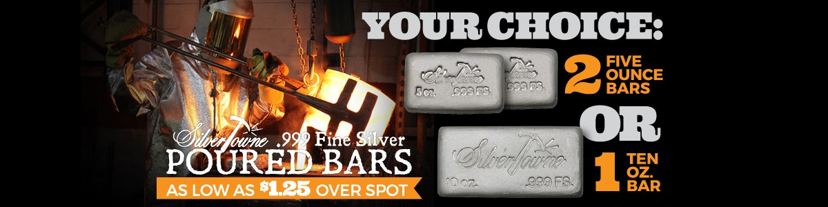 Choice 2pc 5oz OR Single 10oz Poured Silver Bars Deal As Low As $1.25 Over Spot