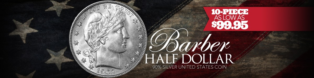 Barber Half Dollar 10pc Avg Circ As Low As $99.95!