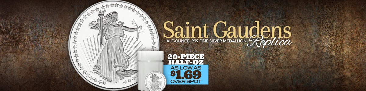 Half Ounce Saint-Gaudens Replica Silver Rounds are BACK! 20pc Tubes as low as $1.69 Over!