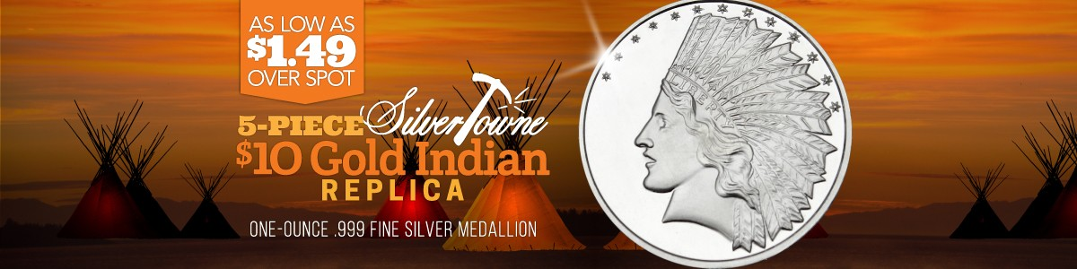 5pc $10 Gold Indian Replica Silver Rounds As Low As $1.49 Over Spot Per Ounce