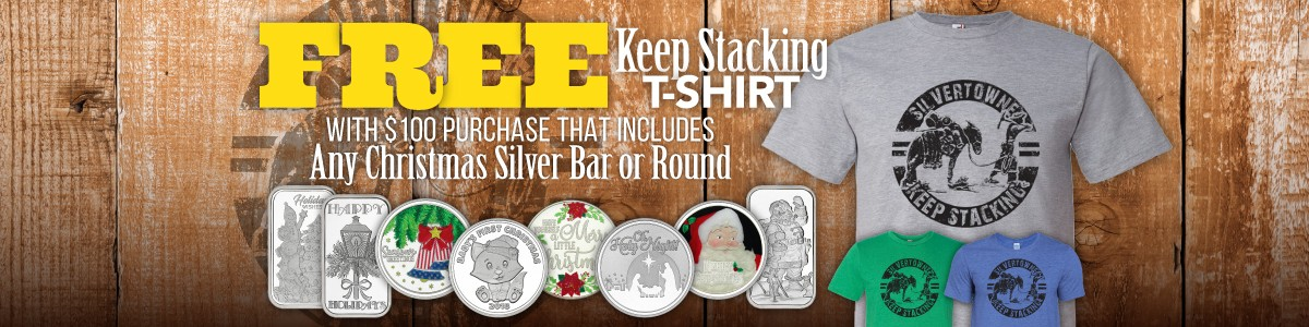 Free SilverTowne Keep Stacking Tee With Purchase of SilverTowne Minted Christmas Themed Special Occasion Silver and $100 Cart Minimum