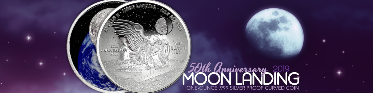 2019 50th Anniversary Moon Landing Silver Coins with Diamonds Encapsulated