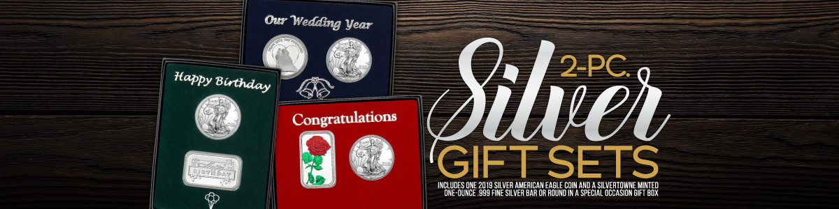 2 Piece SAE Gift Sets Include 1 Special Occasion SilverTowne Silver Piece and a 2019 Silver American Eagle