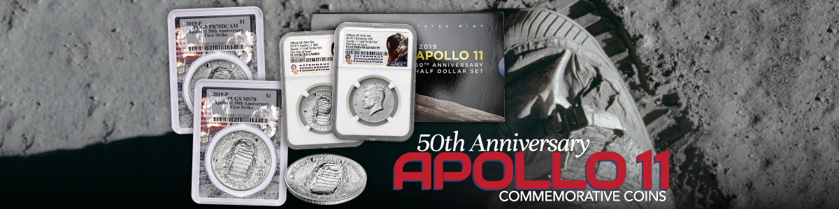 Apollo 11 50th Anniversary Moon Landing Commemorative US Mint Coins