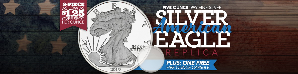 3pc 5oz Replica SAE Silver Rounds As Low as $1.25 Over Spot PLUS 1 Free Fitted Cap with Purchase