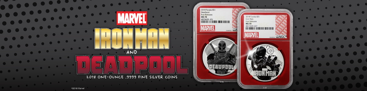 MARVELS Iron Man and Deadpool NGC Certified Silver Coins