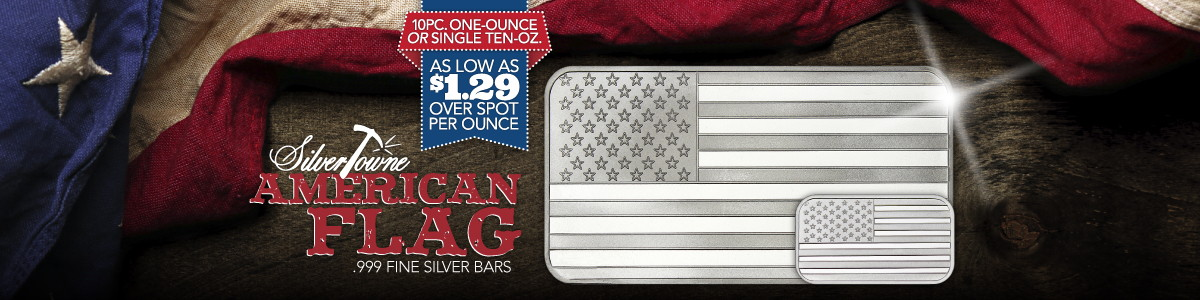 Lower Premium Silver Deal 10 Ounce Total American Flag Silver Bars