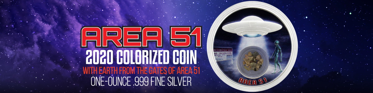 Area 51 1oz Silver Proof Coins with Land/Earth from Area 51 Encased CoinJewels