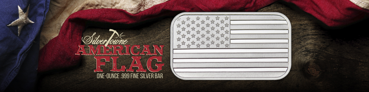 1 oz SilverTowne Minted American Flag Bars