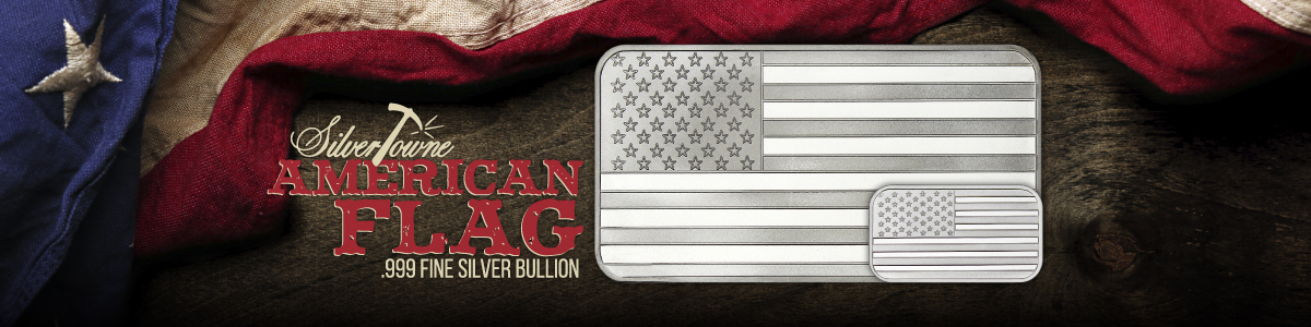 1 oz and 10 oz SilverTowne Minted American Flag Bars