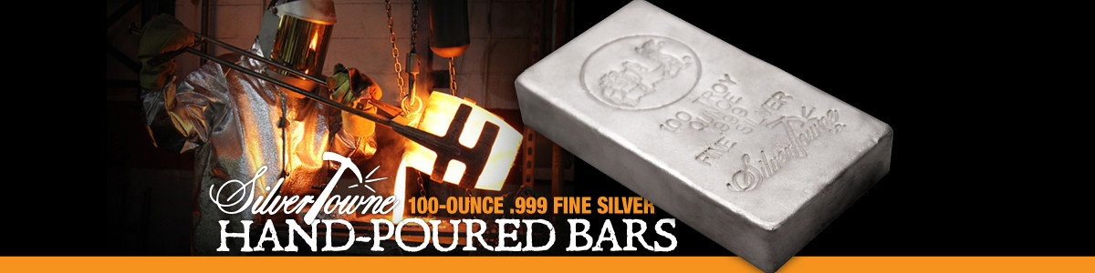 .999 Fine 100 oz Silver Bullion Bars