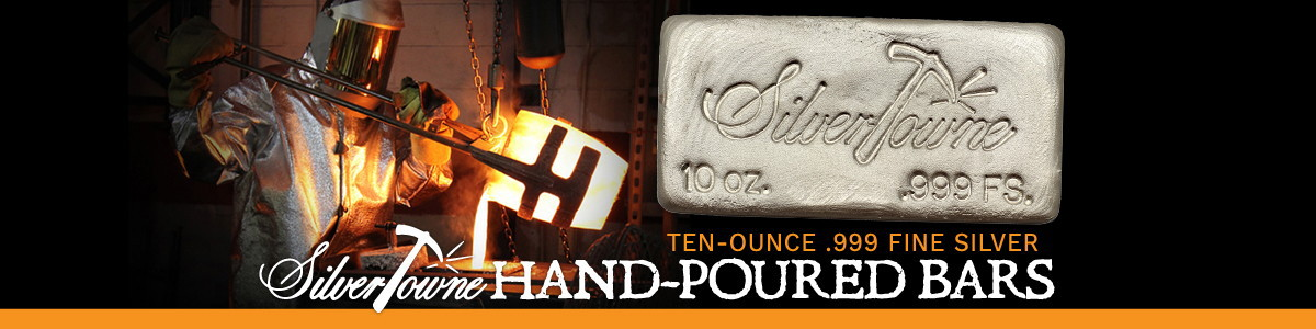 10 Ounce SilverTowne Hand Poured Silver Bar