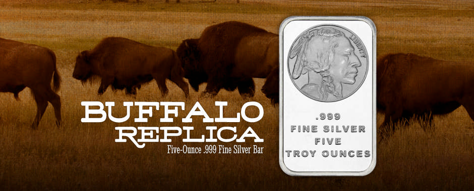5 Ounce Buffalo Replica Silver Bars