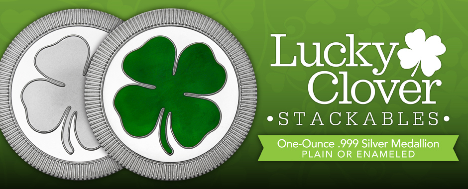 New Stackable 4 Leaf Clovers 1oz Rounds Plain and Enameled!