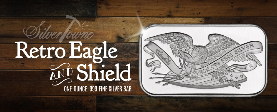 1 Ounce SilverTowne Eagle and Shield Bars
