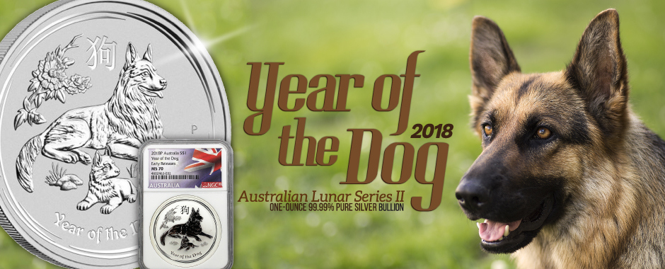 2018 1oz Silver Perth Mint Lunar Year of the Dog Bullion Coins