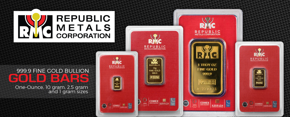 Republic Metals Corporation (RCM) Gold Bars New Sizes in Stock!