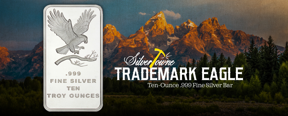 10 Ounce Bald Eagle Design SilverTowne Trademark Silver Bars