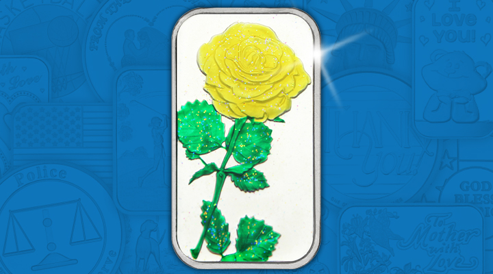 Yellow Enameled Rose 1oz .999 Silver Bar - October Silver of the Month