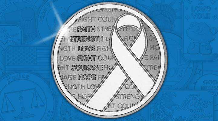 Awareness Ribbon 1oz .999 Silver Medallion - February Silver of the Month