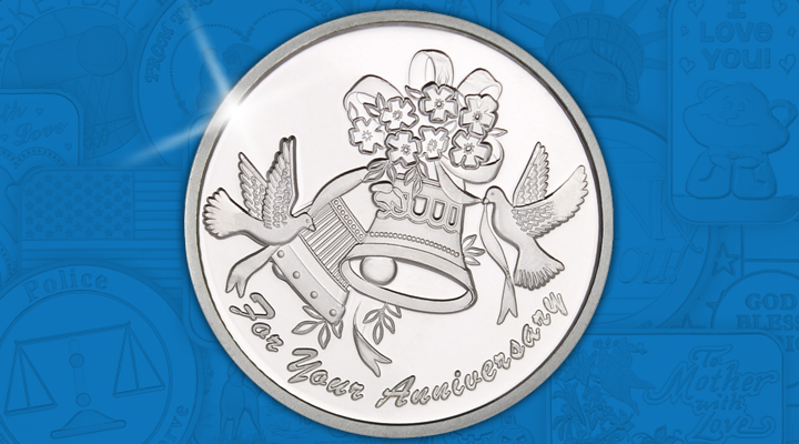 Anniversary Bells 1oz .999 Silver Medallion Dated 2019 - April Silver of the Month
