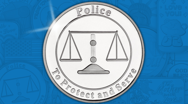 Police Protect and Serve 1oz .999 Silver Medallion - January Silver of the Month