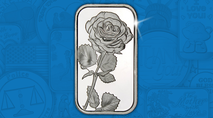 Rose 1oz .999 Silver Bar - April Silver of the Month