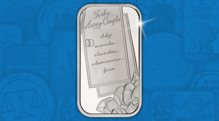 Wedding To The Happy Couple 1oz .999 Silver Bar - May Silver of the Month
