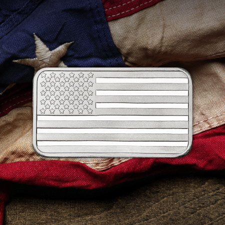 1/2 Ounce Silver Flag Bars SilverTowne Minted