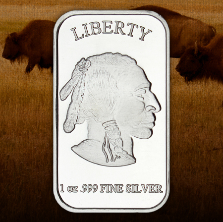 1 Ounce Buffalo Replica Silver Bars