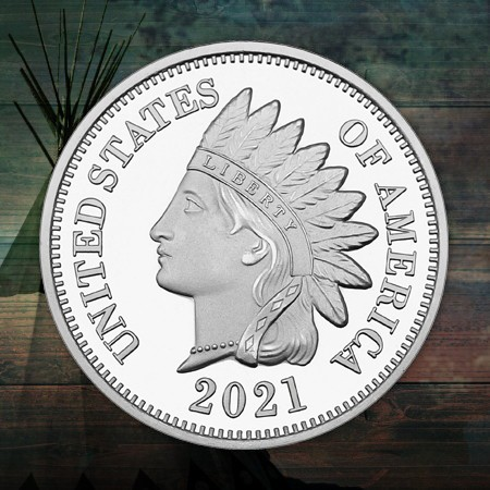 Current Year-Dated Indian Head Cent .999 Silver Bullion Replica Rounds