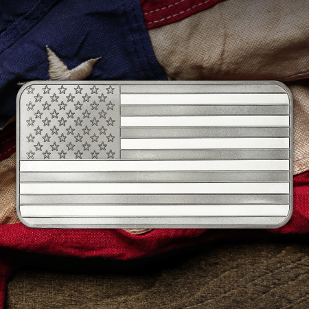10 Ounce American Flag Silver Bars